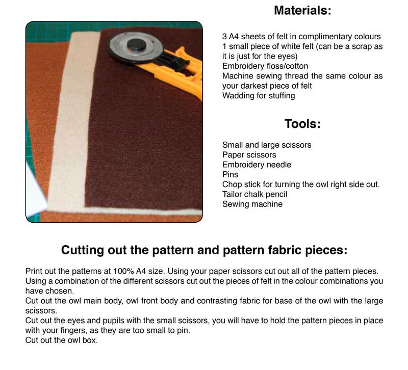 Miss Daisy Dolls tutorial to make an Owl in a Box from felt