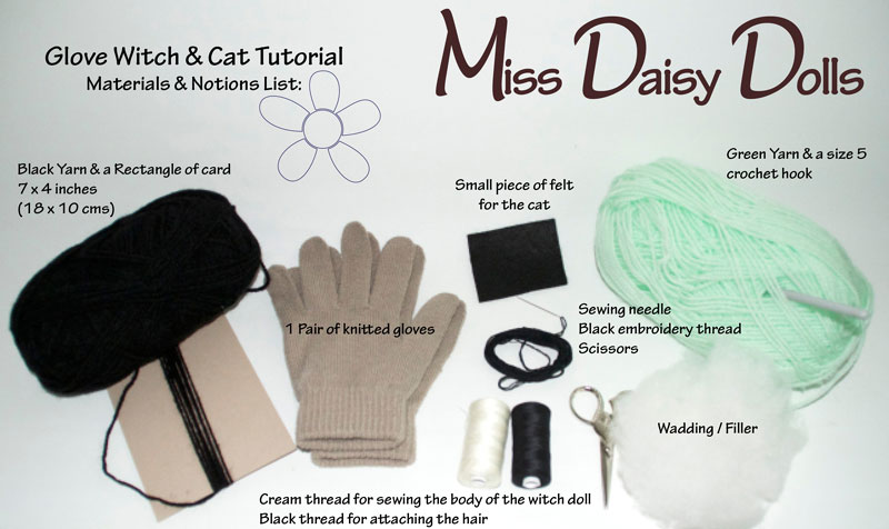 Halloween Crafts - Tutorial to make a witch and her cat from a pair of gloves