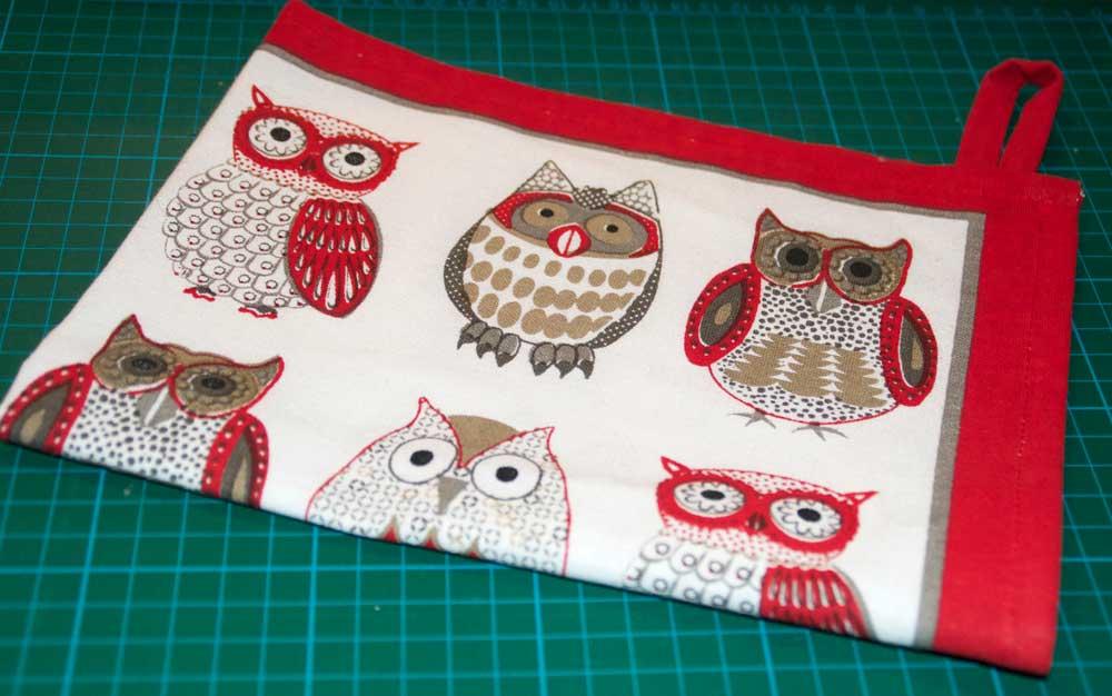 Owl patterned tea towel