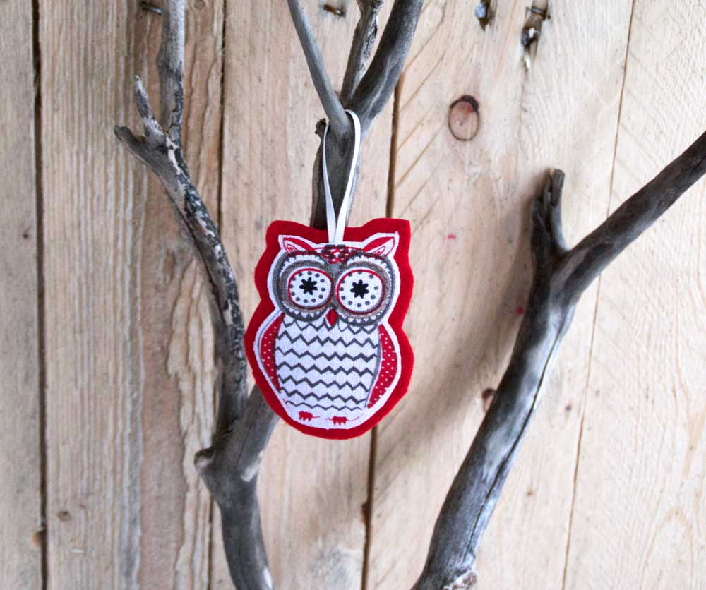 Owl Christmas decoration upcycled from a tea towel
