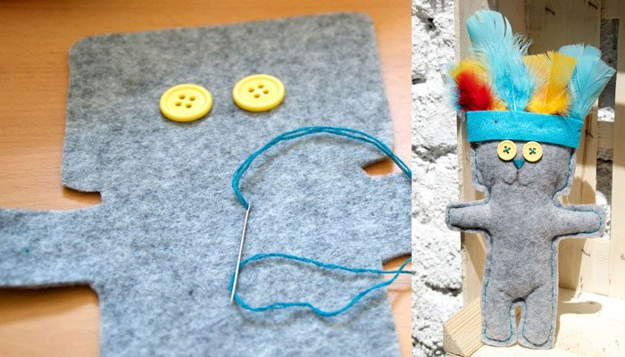 Bear with Headdress – Hand sewing project
