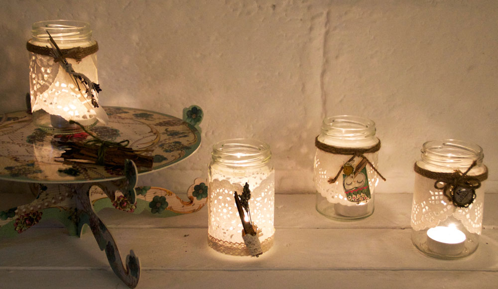 Upcycled Glass Jars – Tea Light Holders