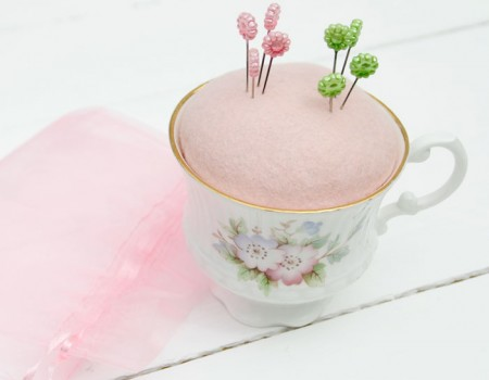 Vintage China Cup Pincushion (Flower Design)