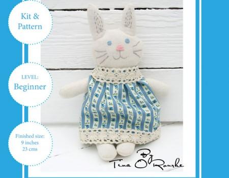 Likkle Bunny Sewing Kit & Pattern (Blue)