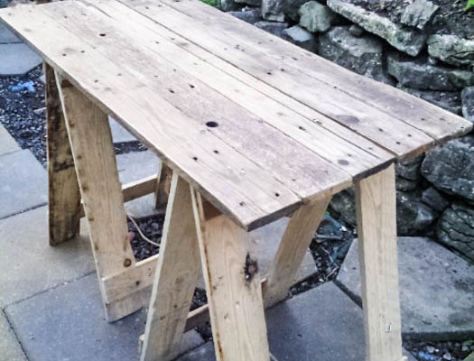 Up-cycled Pallet Table with foldable legs