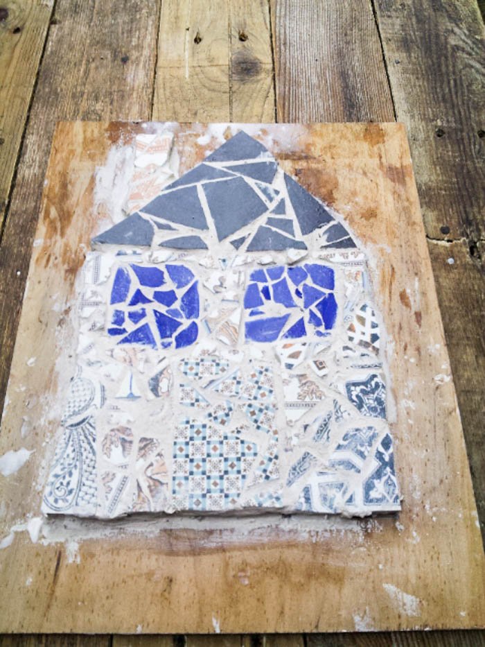 up-cycled tiles mosaic house