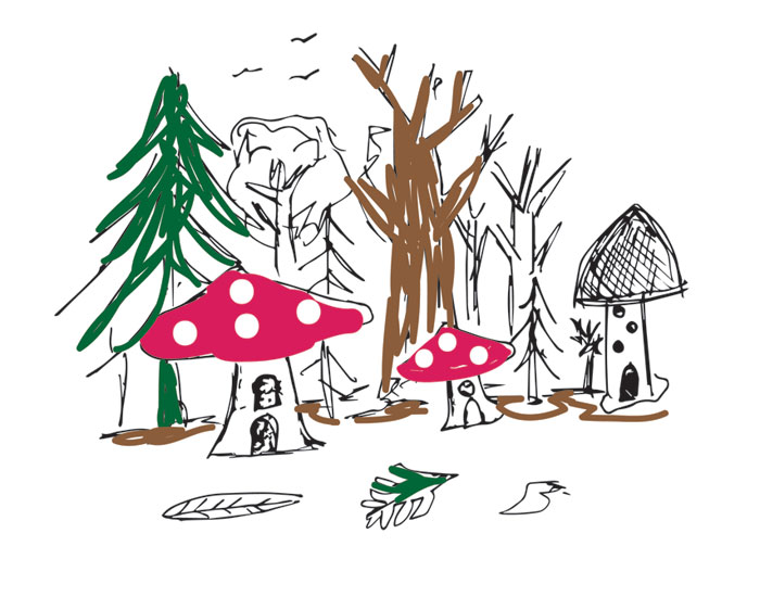 Das clay, fairy village, toadstool, toadstools,