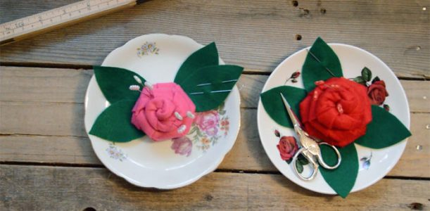 Flower Pincushion & Upcycled Notions Tray Tutorial