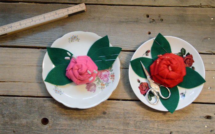 flower pincushion and notions tray
