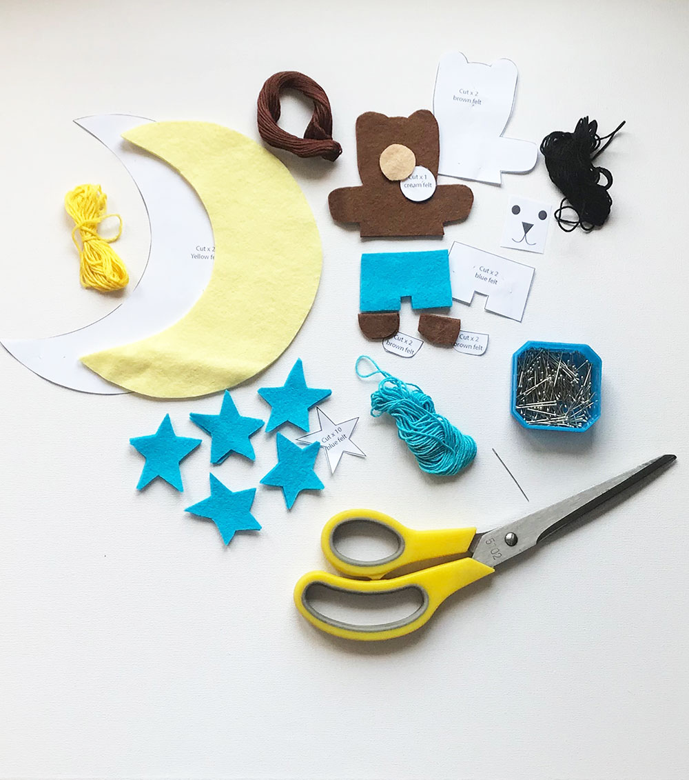 1 Set Moon Fairy Embroidery Kits Needles Threads Tools for DIY Sewing Crafts